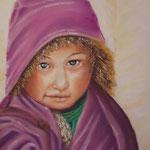 122 - La petite tibétaine - pastels 2018