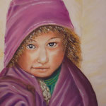 122 - La petite tibétaine - pastels 2018 - dimensions 40x50 - non encadré