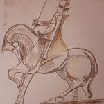 47 - Le fier guerrier - pastels 2014 - encadré dimensions 51x63