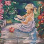 49 - La petite fille et la pomme - pastels 2014 - encadré dimensions 60x67