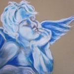 41 - L'ange bleue - pastels 2014 - encadré