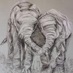 63 - Eléphants qui jouent dans la savane - pastels 2015 -VENDU - encadré 58x66)