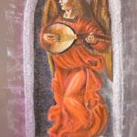 149 - ange jouant du luth d'après une oeuvre de Léonard de Vinci - pastels secs septembre 2019 - dimensions 50x65
