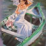119 - La dame à l'ombrelle - pastels 2017