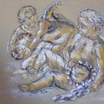 42 - Conversation entre anges - pastels 2014 - encadré