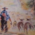 144 - le berger et son troupeau - pastels février 2019 - encadré - dimensions 50x65