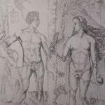137 - Adam et Eve (d'après une oeuvre de Dürer) - encadré - dessin à la mine de plomb - fin novembre 2018 - dimensions 50x65