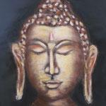 148 - visage de Boudha - pastels secs sur toile - dimensions 40x40