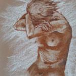 164 - nu de femme sépia - août 2020 - VENDU - dimensions 40x50 non encadré