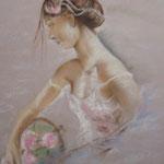 97 - La belle romantique et son panier de roses - pastels 2017 - encadré 51x41