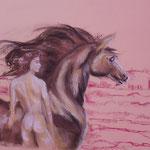 37 - La femme et le cheval - pastels 2014 - dimensions 50x65 - non encadré