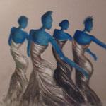 146 - les danseuses - pastels mars 2019 - encadré dimensions 60x80 - CADEAU à MR et MME MALAURIE