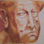 48 - Le vieil homme au visage buriné - pastels 2014 (encadré 63x50)