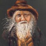 94 - Le vieil homme à la barbe blanche - pastels 2016 - encadré 65x51