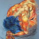 46 -Posture de l'enfant - pastels 2014 encadré dimensions 51x58