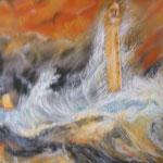 52 - La mer déchainée - pastels 2015 encadré - dimensions 57x70