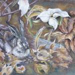 130 - lièvre tapit dans les feuilles - pastels juin 2018 - encadré dimensions 50x65