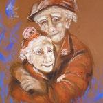 78 - Les petits vieux - pastels  - encadré 65x75)