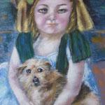139 - la petite fille et son chien - pastels décembre 2018 - dimensions 50x65