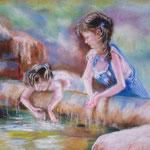 89 - Petites filles jouant avec l'eau - pastels 2016 - encadré 75x55