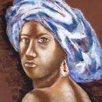 66 - L'africaine - pastels 2015 - dimensions 50x65 - non encdré