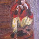 79 - Le saltimbanque - pastels 2016 (mouillés sur bois) d'après une oeuvre de Gérard Garouste