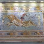 Stierspringer, ein Bild aus Knossos im Archäologischen Museum von Heraklion, Kreta, Griechenland
