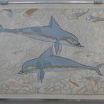 Delfine aus Knossos im Archäologischen Museum von Heraklion, Kreta, Griechenland