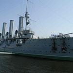 Panzerkreuzer Aurora eröffnete die Oktoberrevolution in St. Petersburg, Rußland