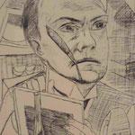 "Max Beckmann, Selbstportrait als Kaltnadelradierung, ""Welttheater"", Museum Barberini, Potsdam"