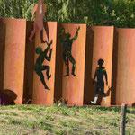Denkmal zur Maueröffnung an der Grenze von Berlin-Lichtenrade und Mahlow, Brandenburg