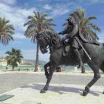 Stauferkönig Manfred vor der von ihm gegründeten Stadt Manfredonia auf der Halbinsel Gargano, Italien