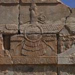Das Zeichen des Zaroastrismus in Persepolis, Iran