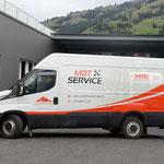 Beschriftung Lieferwagen MBT Service Frutigen