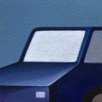 青い車(15.0×15.0cm)