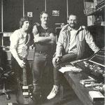 Geronimo Studio, Leiden (1981) vlnr: Burt Blanca, Gerard van Dijk (DSR), Hans van Eijk