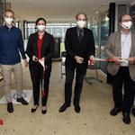 Das rote Band zerschnitten zur Einweihung  von links: Niklas Storck, Petronela Kron (Prokuristin GML), Alexander Thewalt (Aufsichtsratsvorsitzender GML), Dr. Thomas Grommes (Geschäftsführer)
