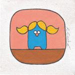 'Mannetje Pug was een meisje', 20/20cm, acryl op doek, verkocht