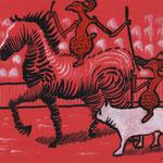 'Paardenrace', vrij werk, 20/30cm, inkt en acryl op rood papier