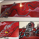 muurschildering in opdracht, 3/1m, acryl en oliepastel