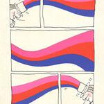 vrij werk, 20/30cm, inkt en gekleurd karton, gepubliceerd in Slang Magazine