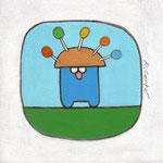 'Mannetje Pug had een nieuwe lollymuts', 20/20cm, acryl op doek, verkocht