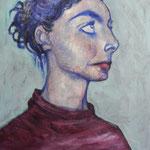 'Odette', vrij werk, 50/40cm, acryl op doek,  gepubliceerd in Tortuca - tijdschrift voor literatuur en beeldende kunst