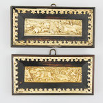 Paar jagdliche Schnitzerein aus Bein, Auktionseinlieferung aus Münster