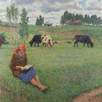 Nikolai Bogdanov-Belsky, Ölgemälde 'Hirtenmächen', Auktionslimit 3.500 €