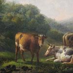 Adolph.C.M.Engel signiert, 'Landschaft mit Kühen & Hirte' Ölgemälde auf Holz