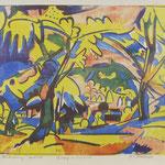 Böckstiegel Farblitho 'Cossebaude' aus Mappe 'Bauernleben'