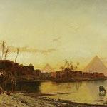 Nach Corrodi. Ansicht vom Nil mit den Pyramiden. Kunstauktion OWL