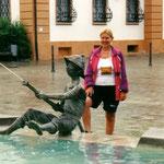 """Gegen 17 Uhr erreichen wir Ehingen, wo wir am Markt im Hotel """"Ochsen"""" unterkommen. Tagesstrecke: 75 km"""