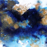 "Abstrakt ""Blau-Gold I"" - Aquarell - 25 x 35 cm - 2016"